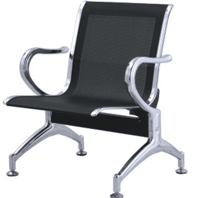 Single Metal Reception Chair- Black