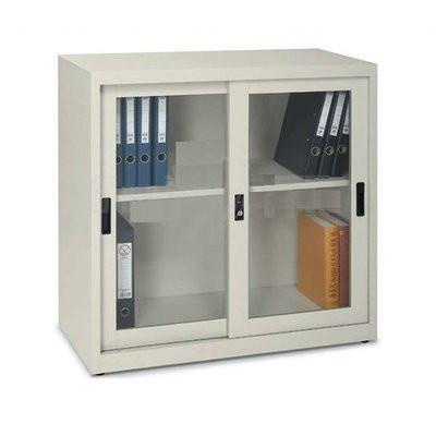 Steel Half Height Cupboard with Sliding Glass Doors