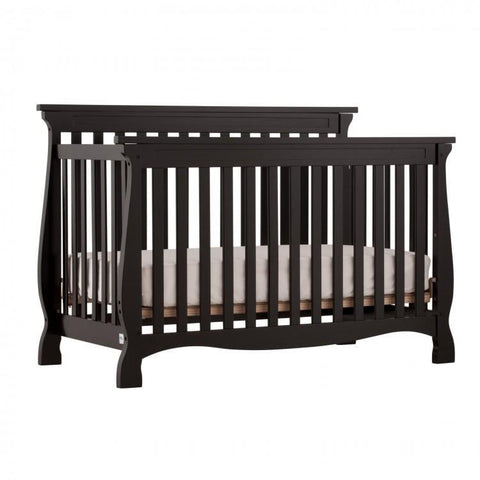 Storkcraft Carrara 4 in 1 Convertible Crib with Free Mattress and Pillow, Deep Espresso