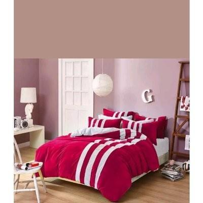 Striped Bedding Set - Red & White
