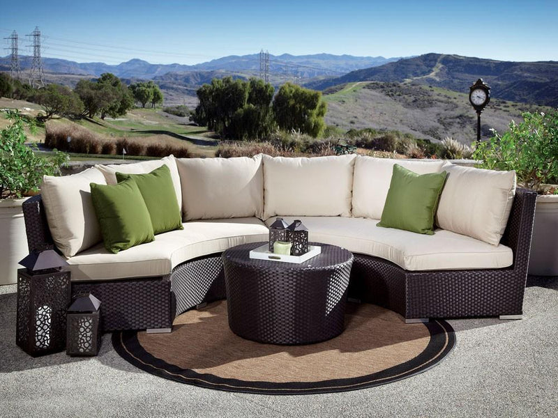 Sunset West Solana 3 Piece Curved Rattan Sectional Set