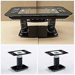 Tempered Glass Coffee Table & Side Stool