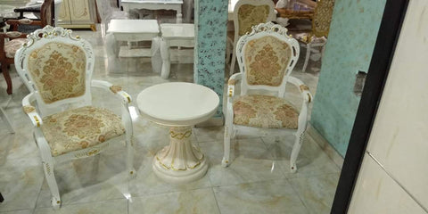 Twin Lounge Chair and Table - White