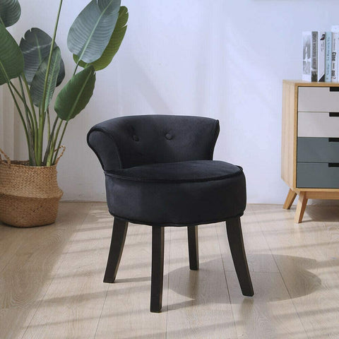 Vanity Chair Wood Legs (Black)