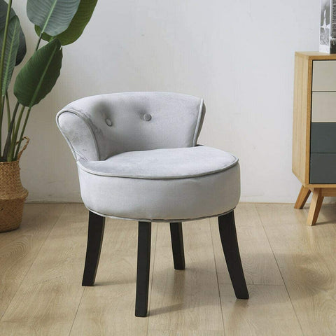 Vanity Chair Wood Legs (Grey)