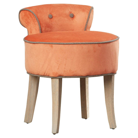 Vanity Chair Wood Legs (Orange)