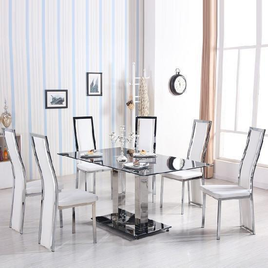 Venice Dining Table In Black Glass With 6 Collete White Chairs
