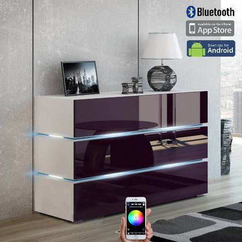 Vision Smart Control LED Credenza(Lilac door-white)