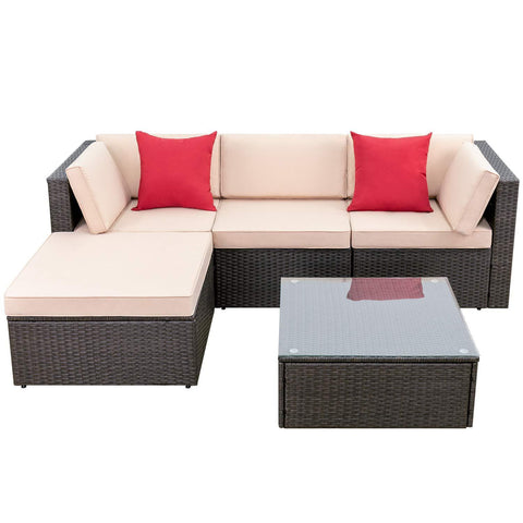 Walnew 5 Pieces Outdoor Rattan Sectional Sofa