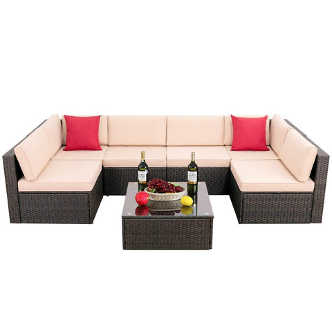 Walnew 7 Pieces Outdoor Rattan Sectional Sofa