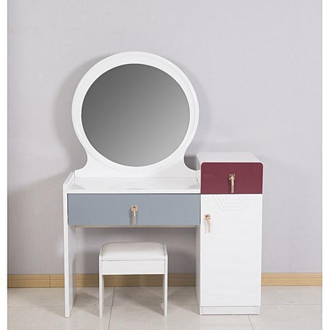 White And Blue Dressing Mirror With A Leather Stool