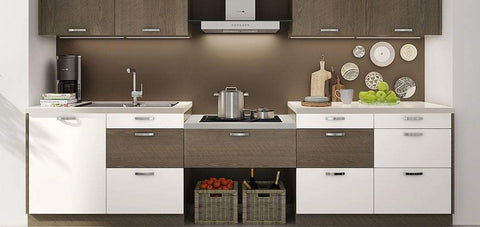 White and Wood Grain I-Shaped Kitchen Cabinet OP17-M06-Bespoke