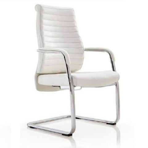 White Executive Leather Visitors Chair