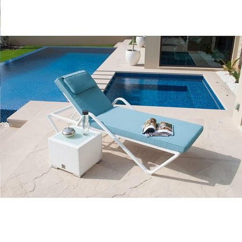 WHITE SINGLE STACKABLE SUNLOUNGER WITH SIDE TABLE