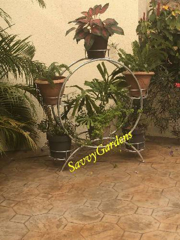 Wrought iron cart plant stand