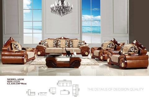 Zalotti Leather & Fabric Sofa Set-A919