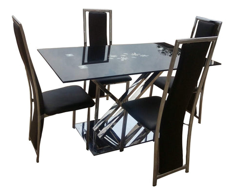 Ziggy Chrome Frame Glass Dining Table