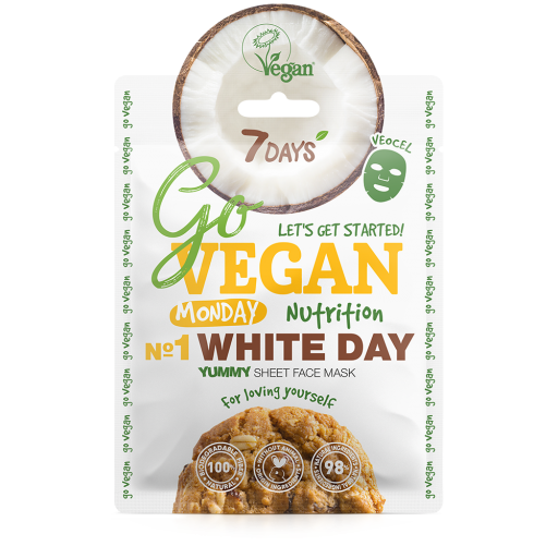 7DAYS - GO VEGAN FACE MASK - WHITE DAY MONDAY