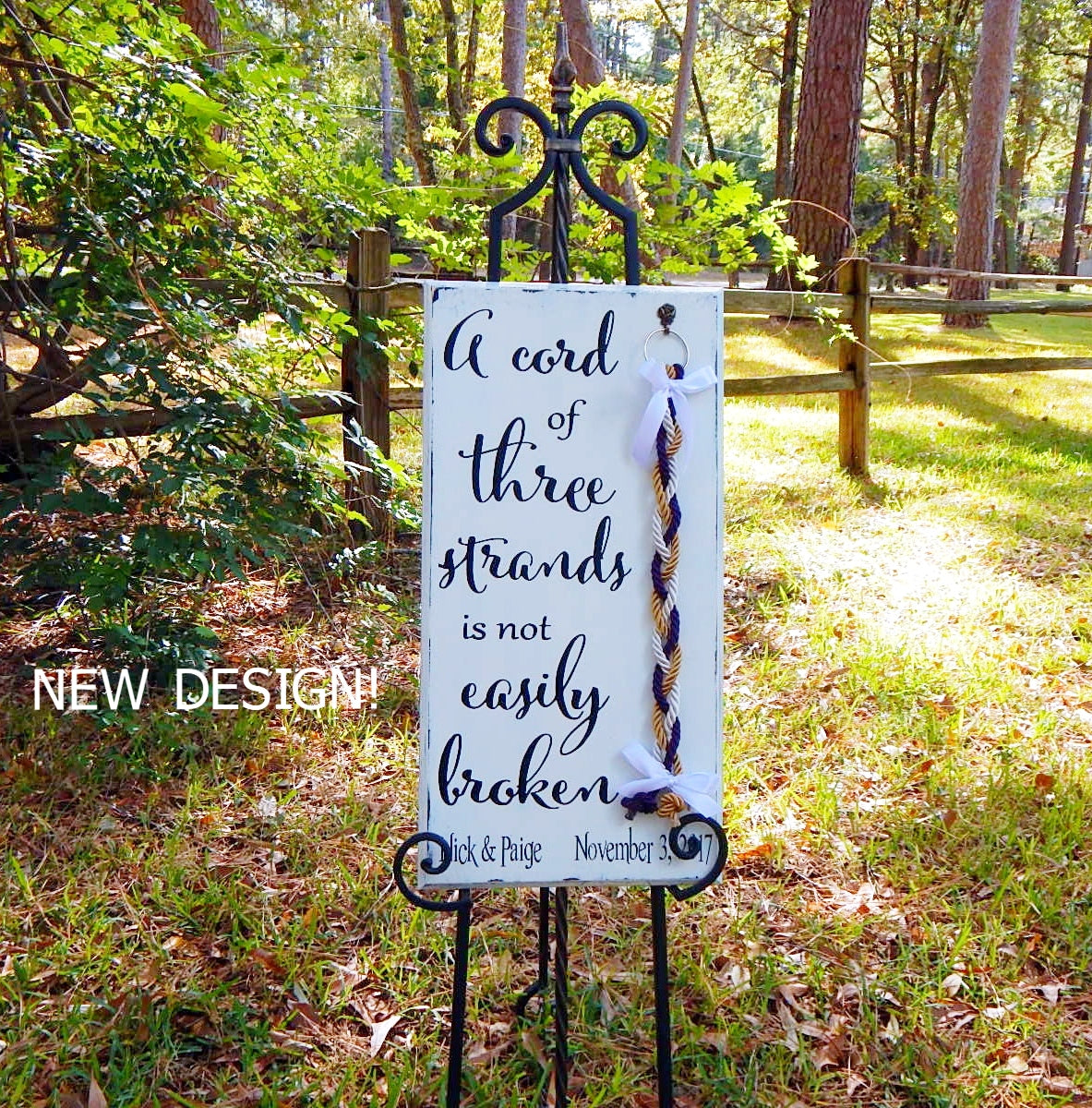 Rustic Wood Signs, Wedding Signs, Shabby White Board, Distressed Decor,  Unity Braids, A Cord Of Three Strands
