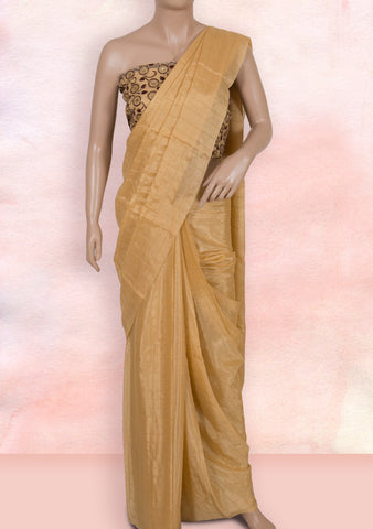 Gold beige checks saree with net blouse piece