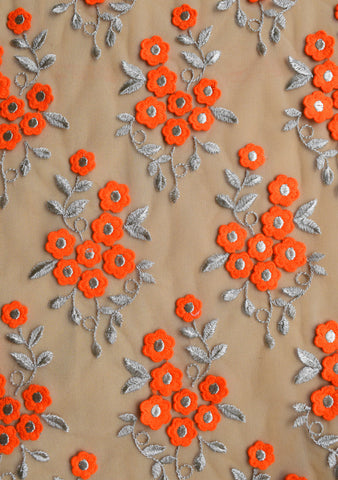 Orange 3D flowers on net