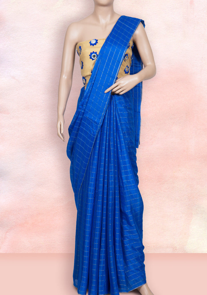 Blue checks saree with mirror work blouse piece