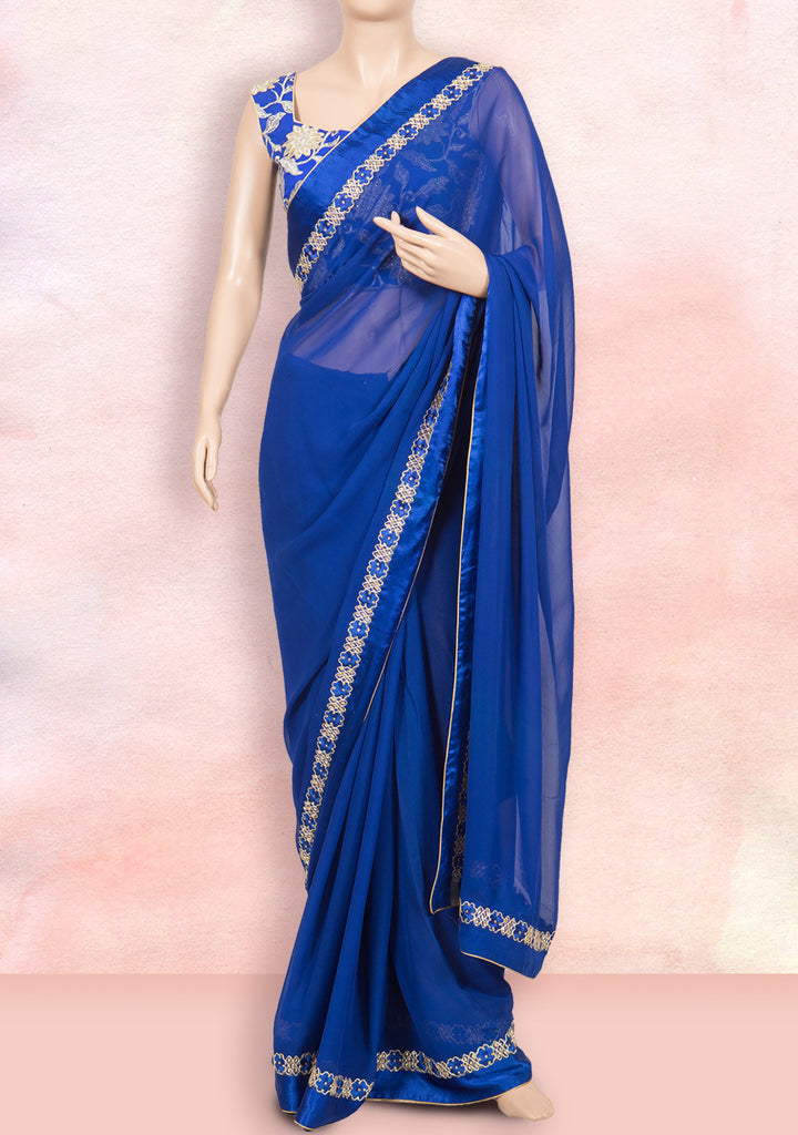 Blue saree in beautiful border with ready-to-wear blouse