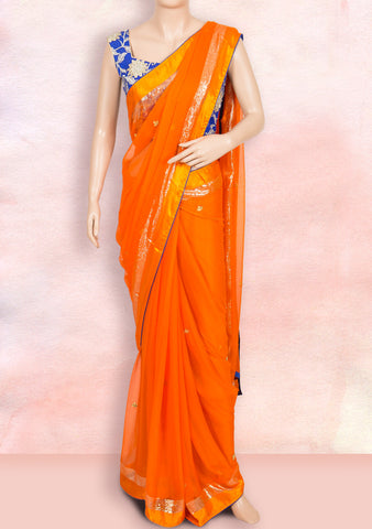 Orange saree with gota work buttis with ready-to-wear blouse