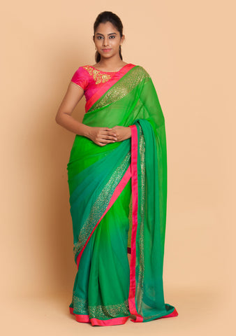 Green Shaded Saree Adorned with Stone Work