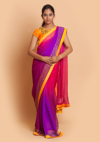 Purple Pink Shaded Saree Adorned with Stone Work