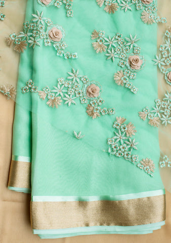 Mint Green saree with net blouse piece