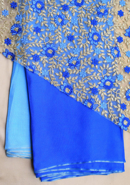 Shaded Blue jute saree with net blouse piece