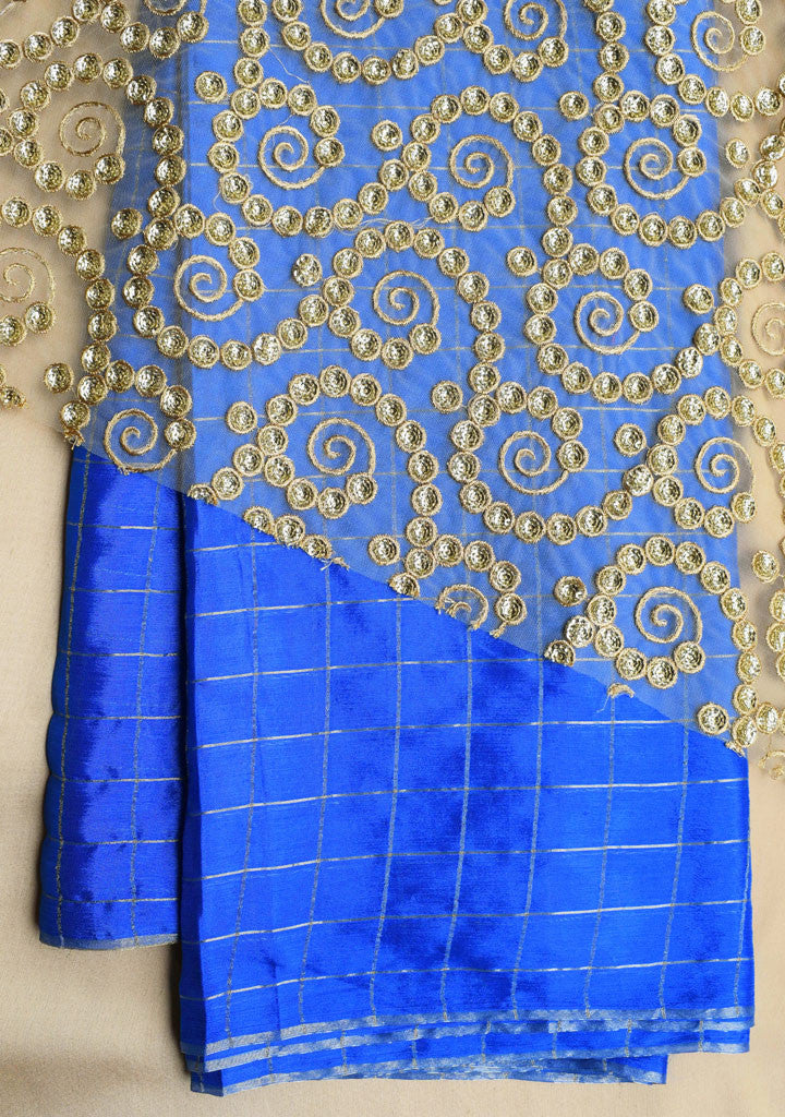 Blue checks saree with golden blouse piece