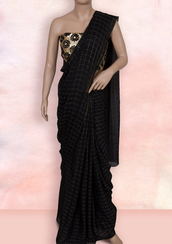 Black checks saree with cutwork blouse piece