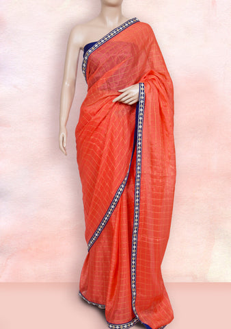 Orange checks saree with contrast purple border