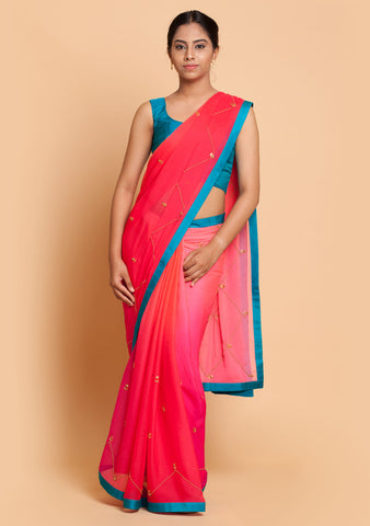 Pink Ombre Embroidered Saree