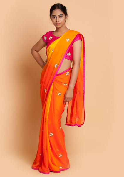 Orange Saree & Contrast Blouse with Beautiful Embroidery