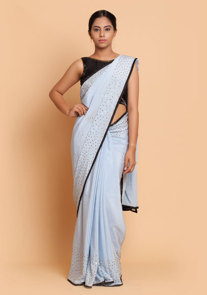 Powder Blue Saree & Black Blouse with Embroidery