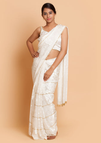 White Self Design Saree & Blouse with Embroidery