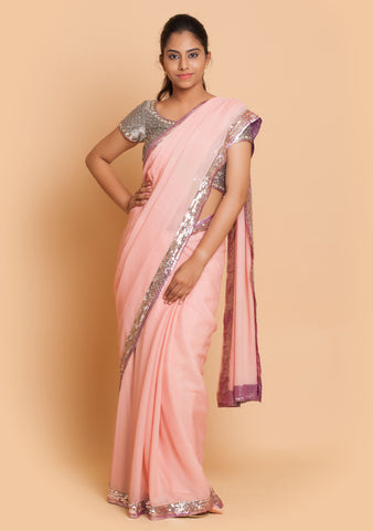 Powder Pink Saree & Grey Blouse with Sequins and Mirror Work