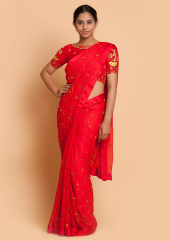 Red Saree & Blouse with Jaal Embroidery