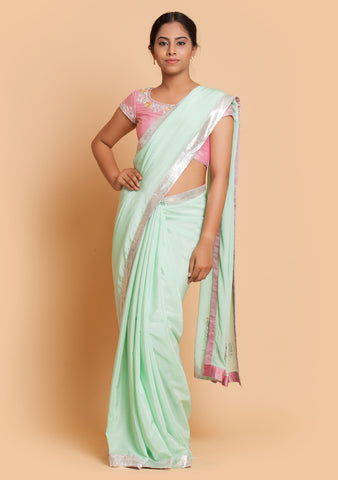 Mint Saree & Pink Blouse with Embroidery
