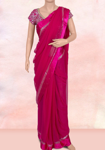 Rani pink saree with ready-to-wear blouse