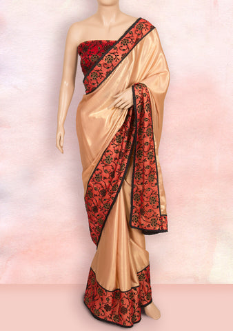 Rose gold designer saree