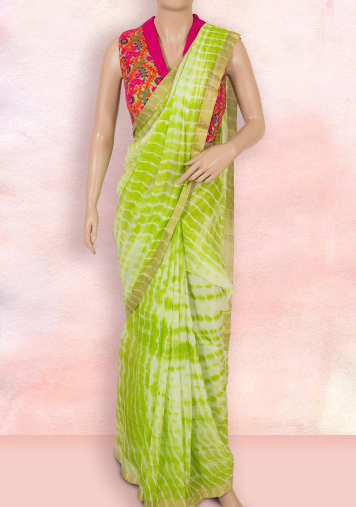 Lime green tie and dye saree with ready-to-wear blouse