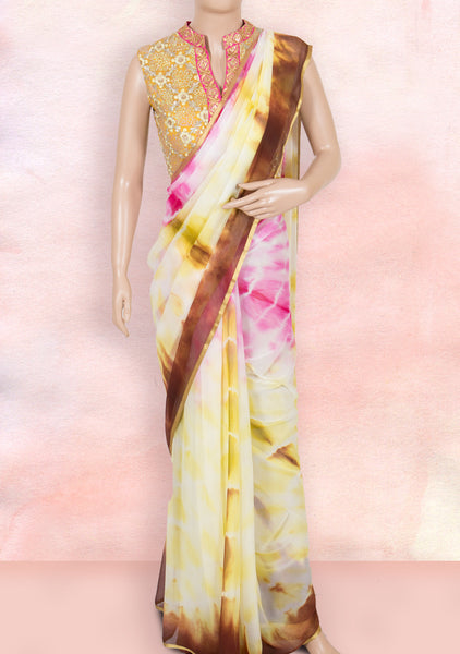 Cream and pink tie and dye saree with ready-to-wear blouse