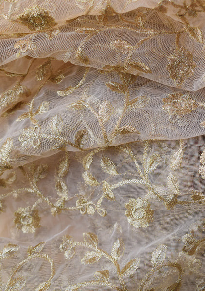 Gold thread embroidery on net