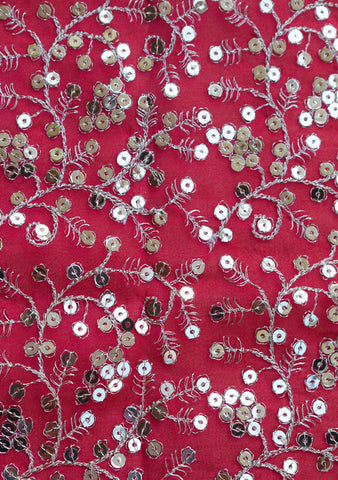 Sequins embroidery on georgette fabric