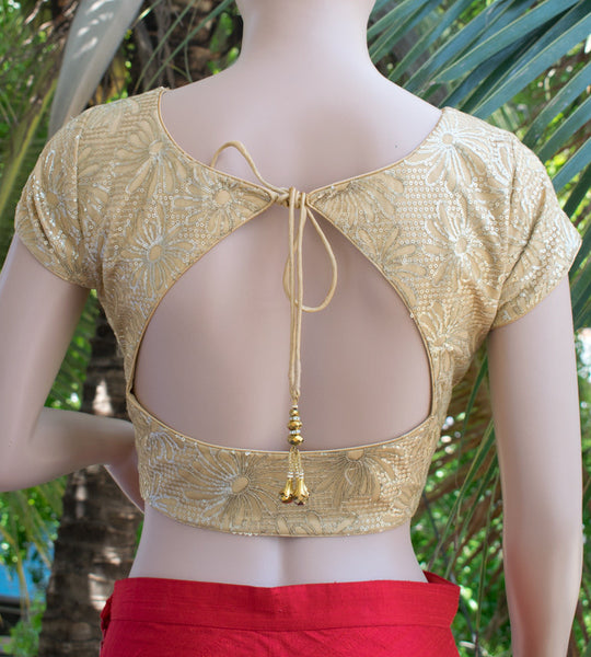 Golden sequins net saree blouse
