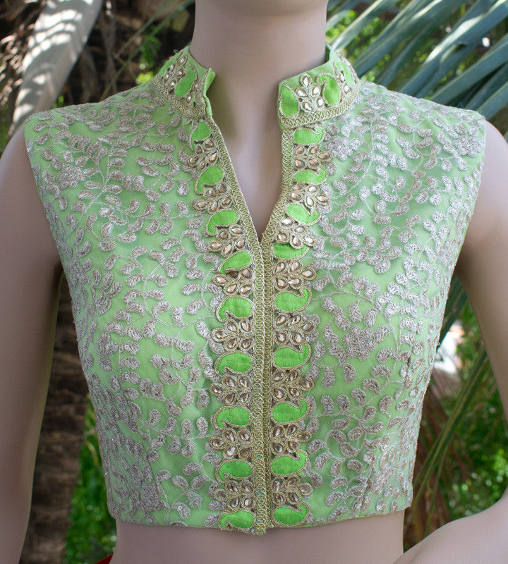 Pista green net saree blouse